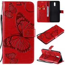 Embossing 3D Butterfly Leather Wallet Case for Nokia 2.3 - Red