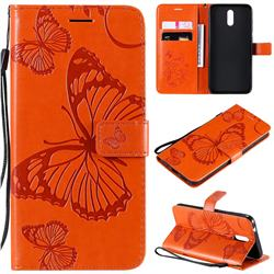 Embossing 3D Butterfly Leather Wallet Case for Nokia 2.3 - Orange