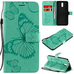 Embossing 3D Butterfly Leather Wallet Case for Nokia 2.3 - Green