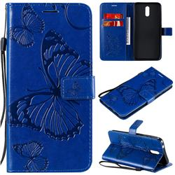 Embossing 3D Butterfly Leather Wallet Case for Nokia 2.3 - Blue