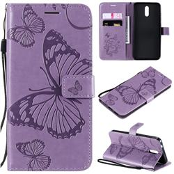 Embossing 3D Butterfly Leather Wallet Case for Nokia 2.3 - Purple
