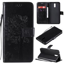 Embossing Butterfly Tree Leather Wallet Case for Nokia 2.3 - Black