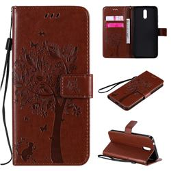 Embossing Butterfly Tree Leather Wallet Case for Nokia 2.3 - Coffee