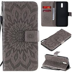 Embossing Sunflower Leather Wallet Case for Nokia 2.3 - Gray