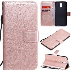 Embossing Sunflower Leather Wallet Case for Nokia 2.3 - Rose Gold