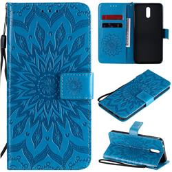 Embossing Sunflower Leather Wallet Case for Nokia 2.3 - Blue