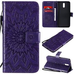 Embossing Sunflower Leather Wallet Case for Nokia 2.3 - Purple