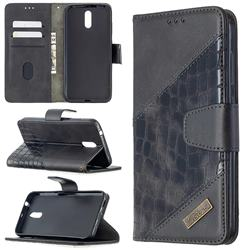 BinfenColor BF04 Color Block Stitching Crocodile Leather Case Cover for Nokia 2.3 - Black