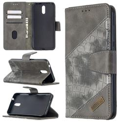 BinfenColor BF04 Color Block Stitching Crocodile Leather Case Cover for Nokia 2.3 - Gray