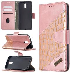 BinfenColor BF04 Color Block Stitching Crocodile Leather Case Cover for Nokia 2.3 - Rose Gold