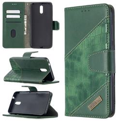 BinfenColor BF04 Color Block Stitching Crocodile Leather Case Cover for Nokia 2.3 - Green