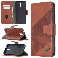 BinfenColor BF04 Color Block Stitching Crocodile Leather Case Cover for Nokia 2.3 - Brown