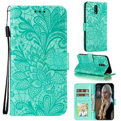 Intricate Embossing Lace Jasmine Flower Leather Wallet Case for Nokia 2.3 - Green