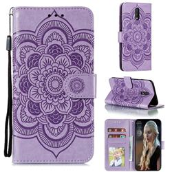 Intricate Embossing Datura Solar Leather Wallet Case for Nokia 2.3 - Purple