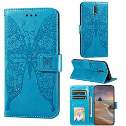 Intricate Embossing Rose Flower Butterfly Leather Wallet Case for Nokia 2.3 - Blue
