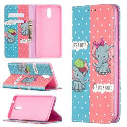 Elephant Boy and Girl Slim Magnetic Attraction Wallet Flip Cover for Nokia 2.3