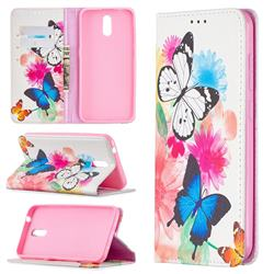 Flying Butterflies Slim Magnetic Attraction Wallet Flip Cover for Nokia 2.3