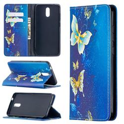 Gold Butterfly Slim Magnetic Attraction Wallet Flip Cover for Nokia 2.3