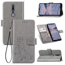 Embossing Imprint Four-Leaf Clover Leather Wallet Case for Nokia 2.4 - Grey