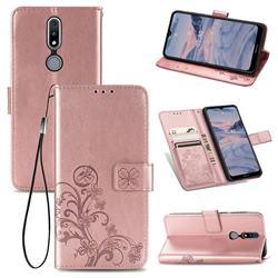 Embossing Imprint Four-Leaf Clover Leather Wallet Case for Nokia 2.4 - Rose Gold