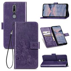 Embossing Imprint Four-Leaf Clover Leather Wallet Case for Nokia 2.4 - Purple