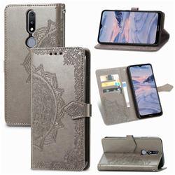Embossing Imprint Mandala Flower Leather Wallet Case for Nokia 2.4 - Gray