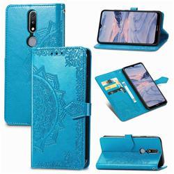 Embossing Imprint Mandala Flower Leather Wallet Case for Nokia 2.4 - Blue