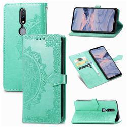 Embossing Imprint Mandala Flower Leather Wallet Case for Nokia 2.4 - Green