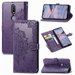 Embossing Imprint Mandala Flower Leather Wallet Case for Nokia 2.4 - Purple