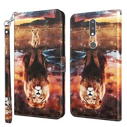 Fantasy Lion 3D Painted Leather Wallet Case for Nokia 2.4