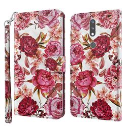 Red Flower 3D Painted Leather Wallet Case for Nokia 2.4