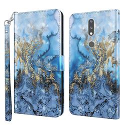 Milky Way Marble 3D Painted Leather Wallet Case for Nokia 2.4
