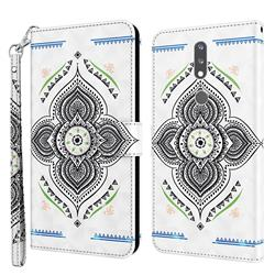 Mandala Totem 3D Painted Leather Wallet Case for Nokia 2.4