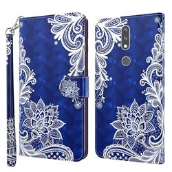 White Lace 3D Painted Leather Wallet Case for Nokia 2.4