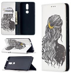 Girl with Long Hair Slim Magnetic Attraction Wallet Flip Cover for Nokia 2.4