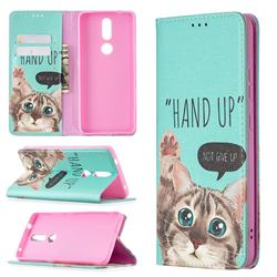 Hand Up Cat Slim Magnetic Attraction Wallet Flip Cover for Nokia 2.4