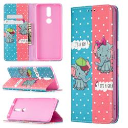 Elephant Boy and Girl Slim Magnetic Attraction Wallet Flip Cover for Nokia 2.4