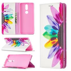 Sun Flower Slim Magnetic Attraction Wallet Flip Cover for Nokia 2.4