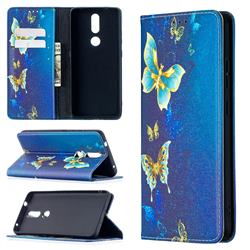 Gold Butterfly Slim Magnetic Attraction Wallet Flip Cover for Nokia 2.4
