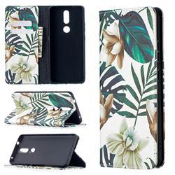 Flower Leaf Slim Magnetic Attraction Wallet Flip Cover for Nokia 2.4