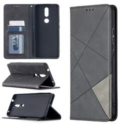 Prismatic Slim Magnetic Sucking Stitching Wallet Flip Cover for Nokia 2.4 - Black