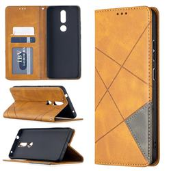 Prismatic Slim Magnetic Sucking Stitching Wallet Flip Cover for Nokia 2.4 - Yellow