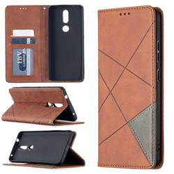 Prismatic Slim Magnetic Sucking Stitching Wallet Flip Cover for Nokia 2.4 - Brown