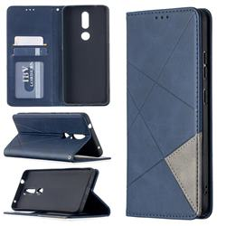 Prismatic Slim Magnetic Sucking Stitching Wallet Flip Cover for Nokia 2.4 - Blue