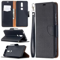 Classic Luxury Litchi Leather Phone Wallet Case for Nokia 2.4 - Black