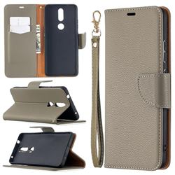 Classic Luxury Litchi Leather Phone Wallet Case for Nokia 2.4 - Gray
