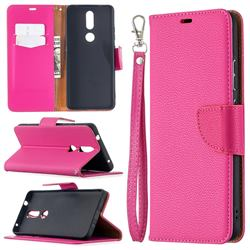 Classic Luxury Litchi Leather Phone Wallet Case for Nokia 2.4 - Rose