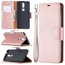 Classic Luxury Litchi Leather Phone Wallet Case for Nokia 2.4 - Golden