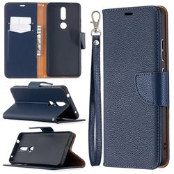 Classic Luxury Litchi Leather Phone Wallet Case for Nokia 2.4 - Blue