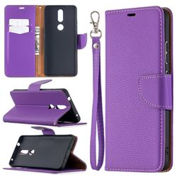 Classic Luxury Litchi Leather Phone Wallet Case for Nokia 2.4 - Purple